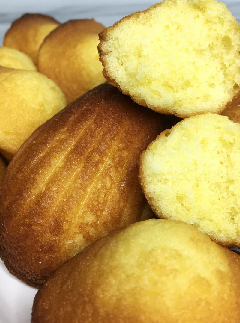 A batch of classic French madeleines - lemon-flavored madeleines