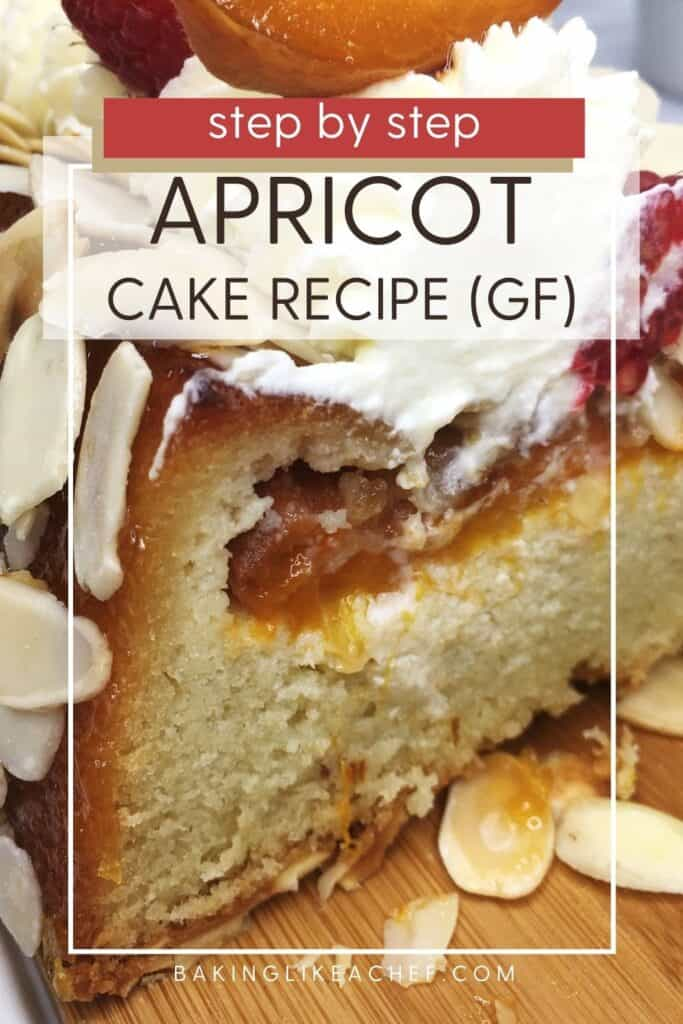 Sliced cake sprinkled with flaked almonds, and whipped cream, and apricots on top: Pin with text