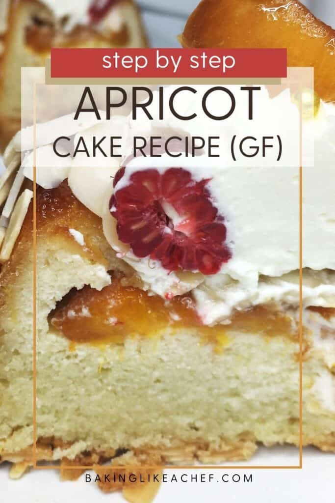 A slice of French apricot cake topped with fresh fruit and whipped cream: Pin with text