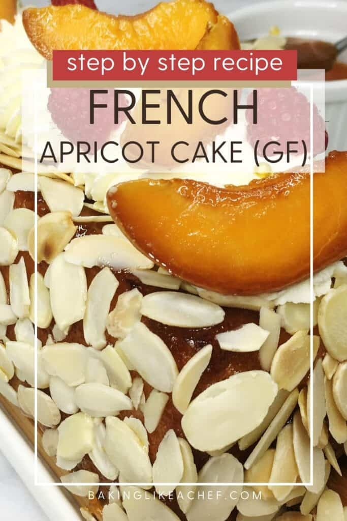 Cake sprinkled with toasted flaked almonds and decorated with cream and roasted apricots: Pin with text