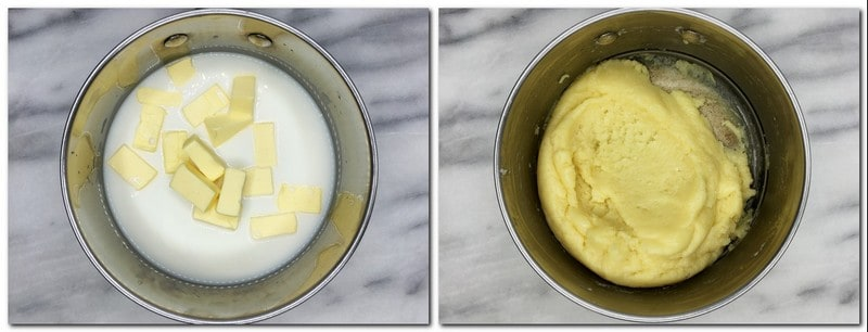 "Photo 1: Butter cut into cubes with milk and water in a saucepan Photo 2: ""Dried"" dough in a pan"