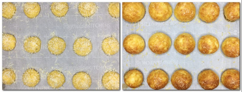 Photo 5: Puffs sprinkled with cheese on the parchment Photo 6: Baked French cheese puffs on the parchment