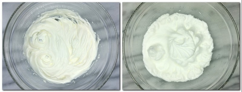 Photo 1: Whipped cream in a glass bowl Photo 2: Beaten egg whites in a glass bowl