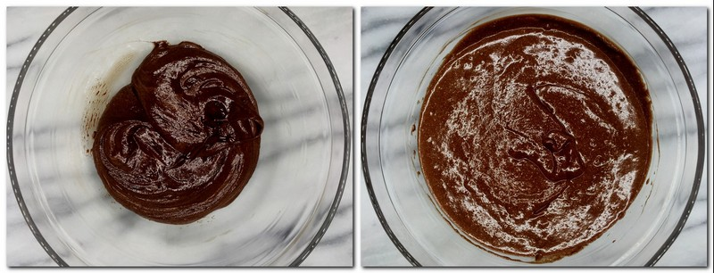 Photo 5: Chocolate/whipped cream mixture in a bowl Photo 6: Ready dark chocolate mousse in a bowl