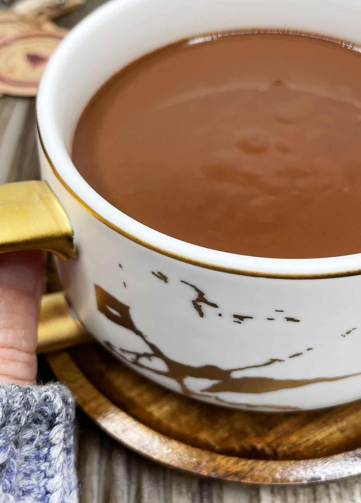 A cup of French hot chocolate held in a hand: Close up