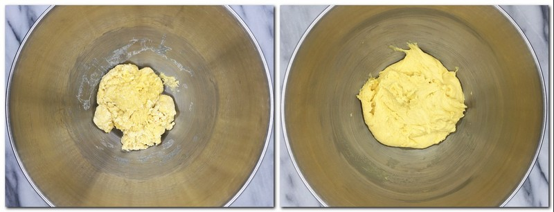 Photo 1: Dense dough on the bowl of a stand mixer Photo 2: Smooth and elastic dough in the bowl of a stand mixer