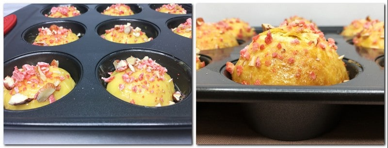 Photo 5: Dough rolls sprinkled with pink praline in a muffin tin Photo 6: Baked rolls topped with pink praline in a muffin pan