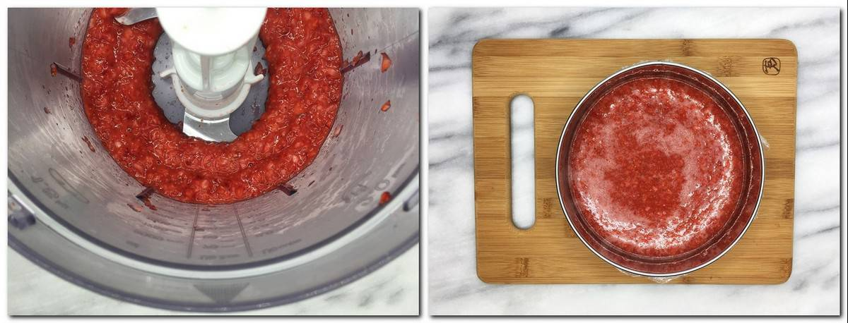 Photo 1: Crushed strawberries in a food processor Photo 2: Strawberry confit in a steel ring on a wooden board