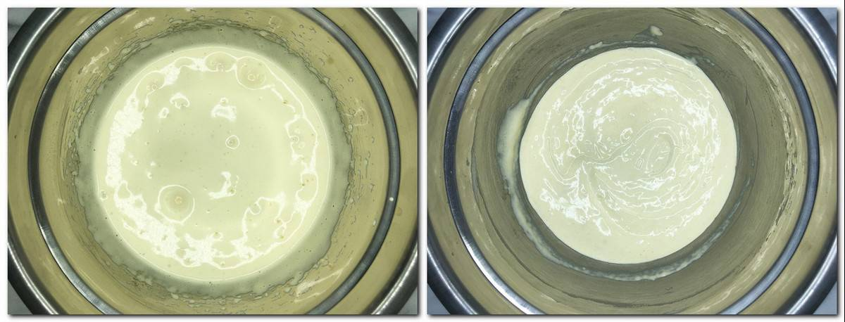 Photo 3: Eggs/sugar mixture in a metal bowl Photo 4: Ready batter in a bowl
