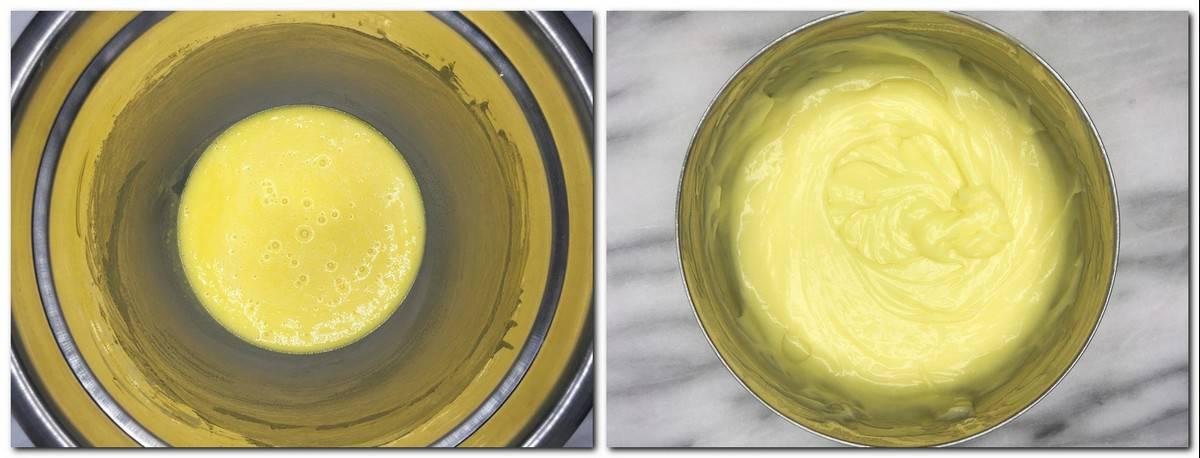 Photo 7: Eggs/sugar/corn starch mixture in a metal bowl Photo 8: Half way ready cream in a saucepan