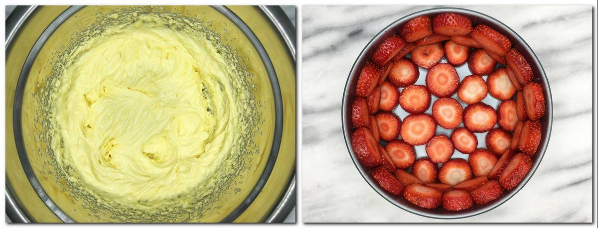 Photo 9: Ready mousseline cream in a metal bowl Photo 10: Cake mold with strawberry rings at the bottom and around