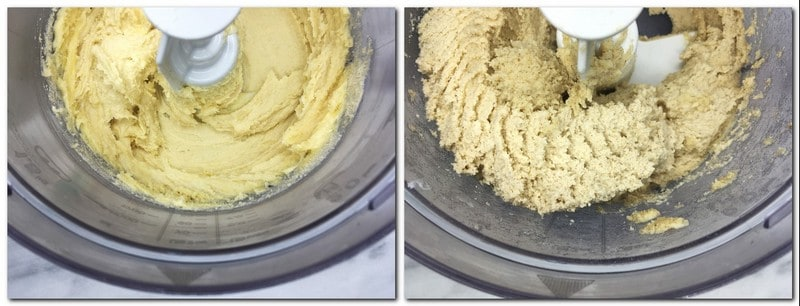 Photo 1: Sugar/vanilla/almond flour mixture in the bowl of a stand mixer Photo 2: Ready cookie dough in the bowl of a stand mixer