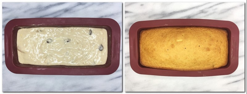 Photo 5: Dough in a silicone loaf pan Photo 6: Baked loaf in a pan
