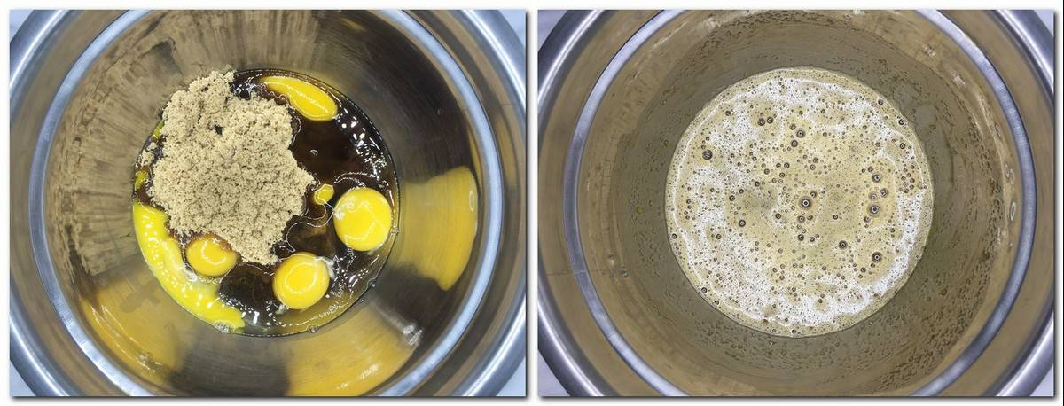 Photo 1: Ingredients in a metal bowl Photo 2: Eggs/sugar mixture in a bowl