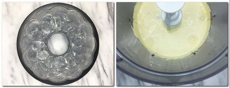 Photo 1: Buttered and sugared cake pan Photo 2: Eggs/sugar mixture in the bowl