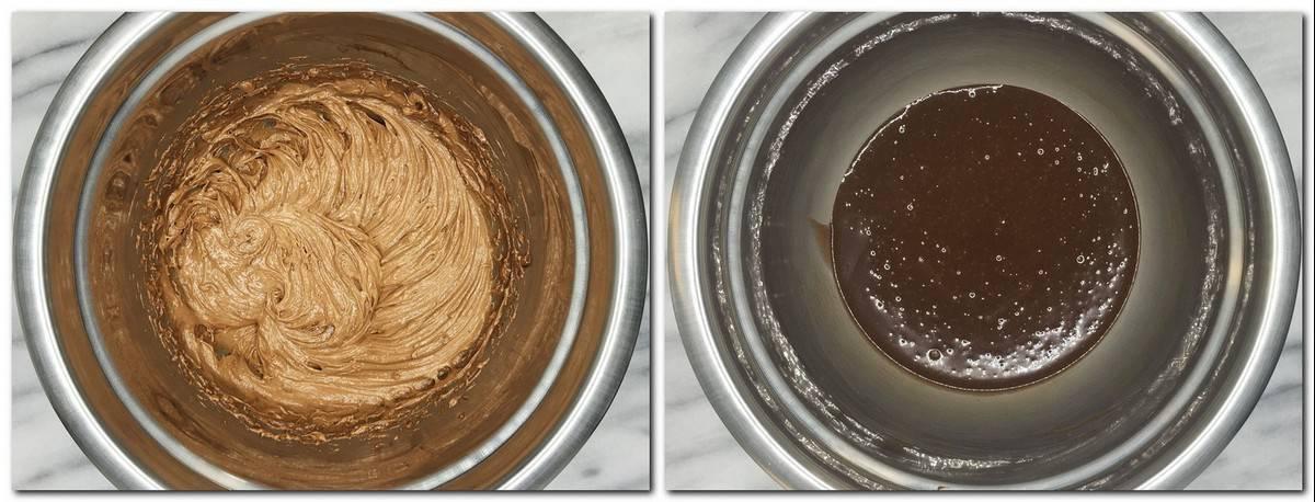 Photo 1: Nutella and hazelnut praline  mixture in a metal bowl Photo 2: Chocolate hazelnut ganache in a metal bowl