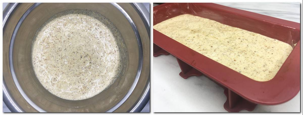 Photo 7: Ready cake batter in a metal bowl Photo 8: Batter in a silicone loaf pan