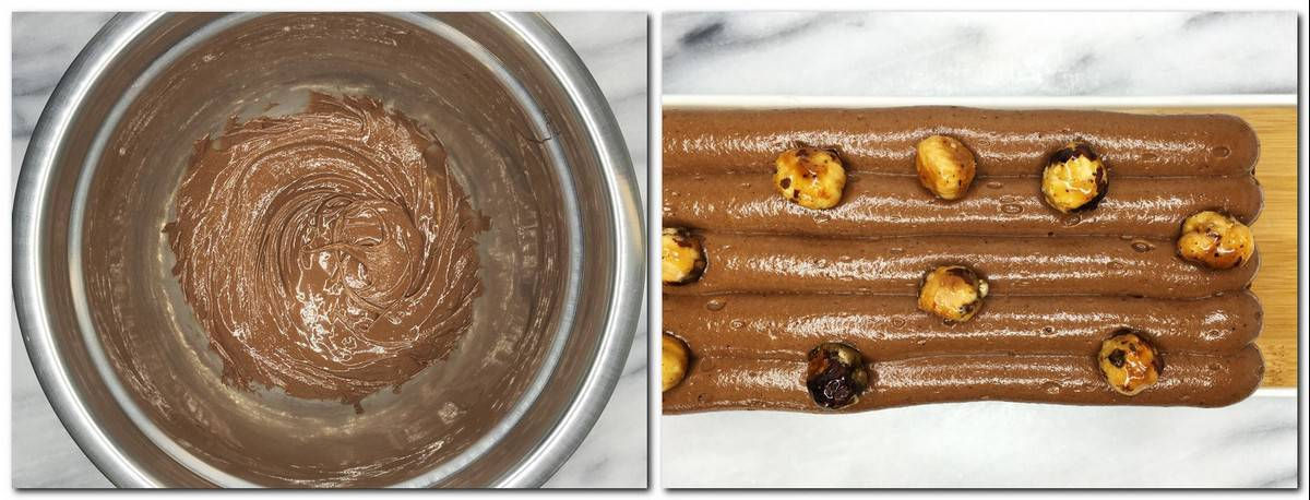 Photo 11: Ready chocolate ganache in a metal bowl Photo 12: Ganache pipped on top of the cake with a few caramelized nuts