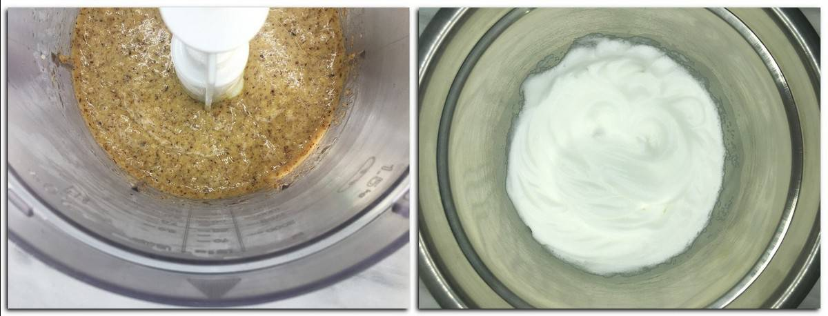 Photo 5: Brown-colored batter mixture in the bowl of a stand mixer Photo 6: Meringue in a metal bowl