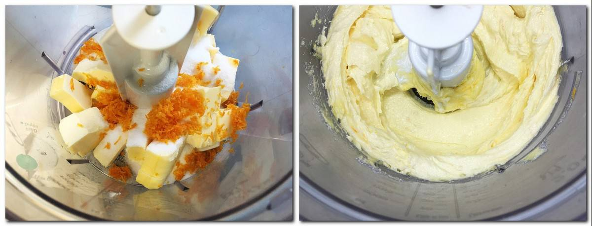 Photo 1: Butter, sugar, zest in a stand mixer Photo 2: Butter mixture in a bowl
