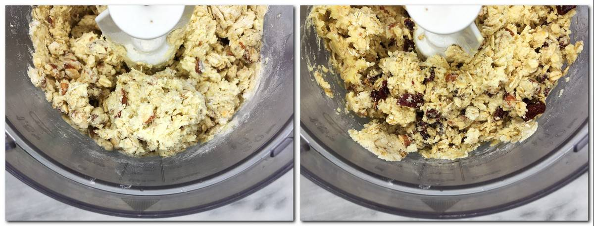 Photo 3: Cookie dough mixture in a stand mixer Photo 4: Cookie dough in a mixer