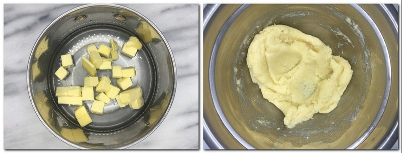 Photo 1: Butter, salt, and water in a saucepan Photo 2: Dough in a metal bowl