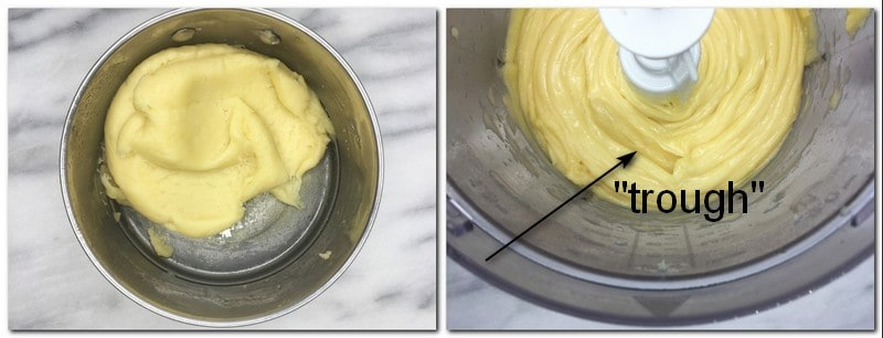 "Photo 3: ""Dried"" choux pastry dough in a pan Photo 2: Choux pastry in a bowl"