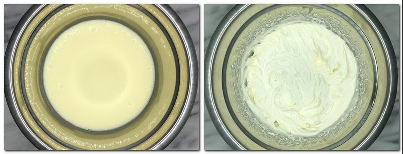 Photo 7: Whipping cream with chocolate in a bowl Photo 8: Chantilly cream in a bowl