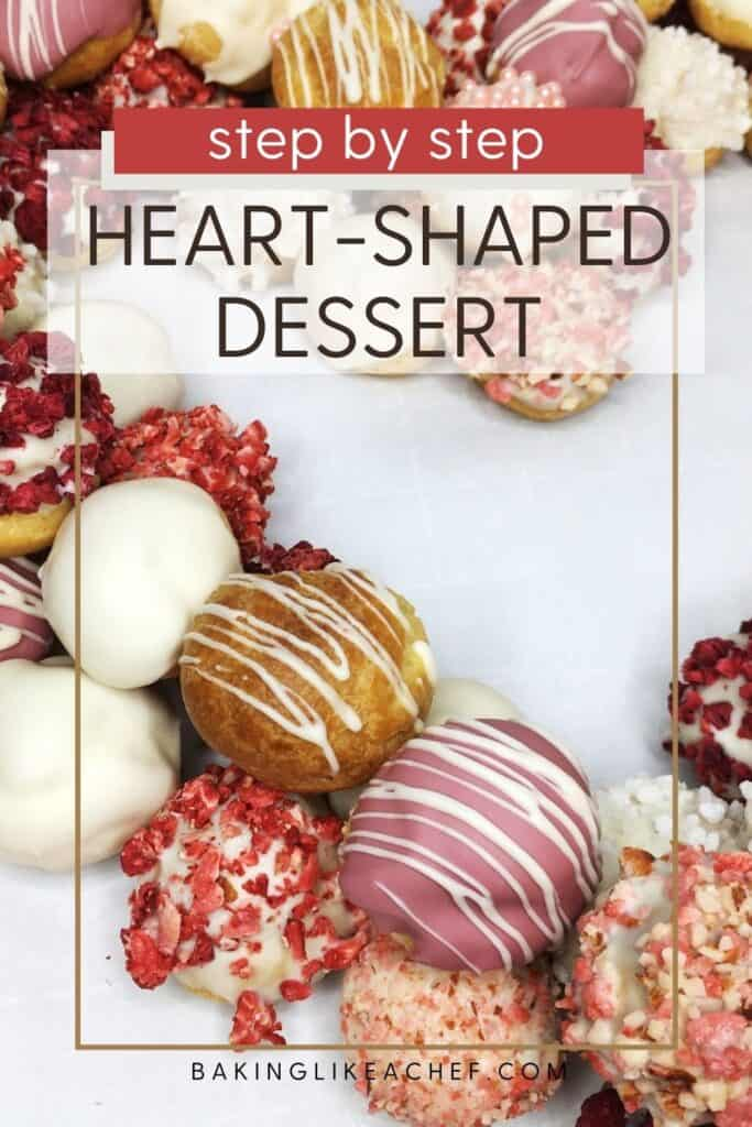 Fancy-decorated cream puffs arranged like a heart on parchment: Overhead view, Pin with text
