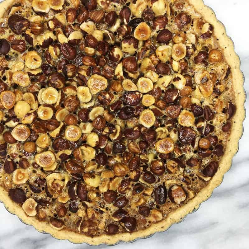 Honey Hazelnut pie in a pan: Overhead view