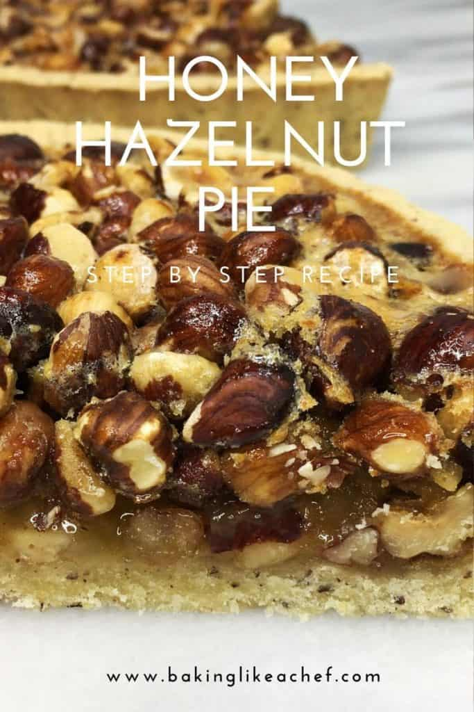 A slice of Hazelnut pie with the rest of the pie on background
