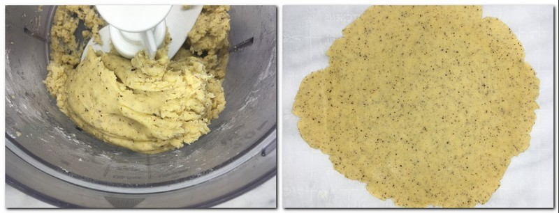 Photo 3: Ready dough in the bowl of a stand mixer Photo 4: Rolled dough on parchment