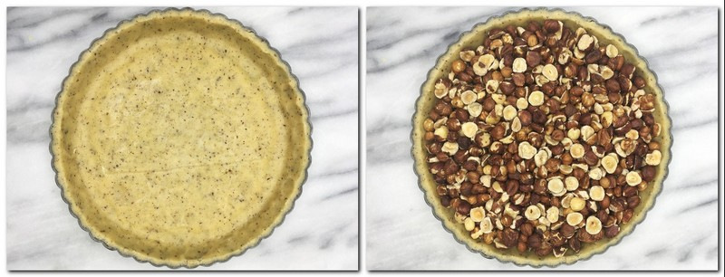 Photo 5: A pan with the lined pie dough  Photo 6: Nuts inside the pie crust