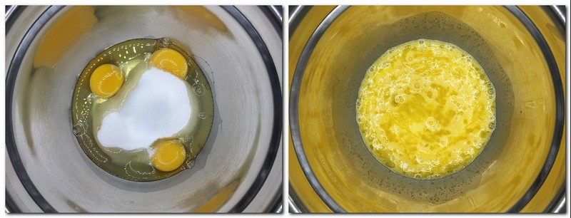 Photo 1: Eggs and sugar in a metal bowl Photo 2: Slightly beaten eggs/sugar mixture