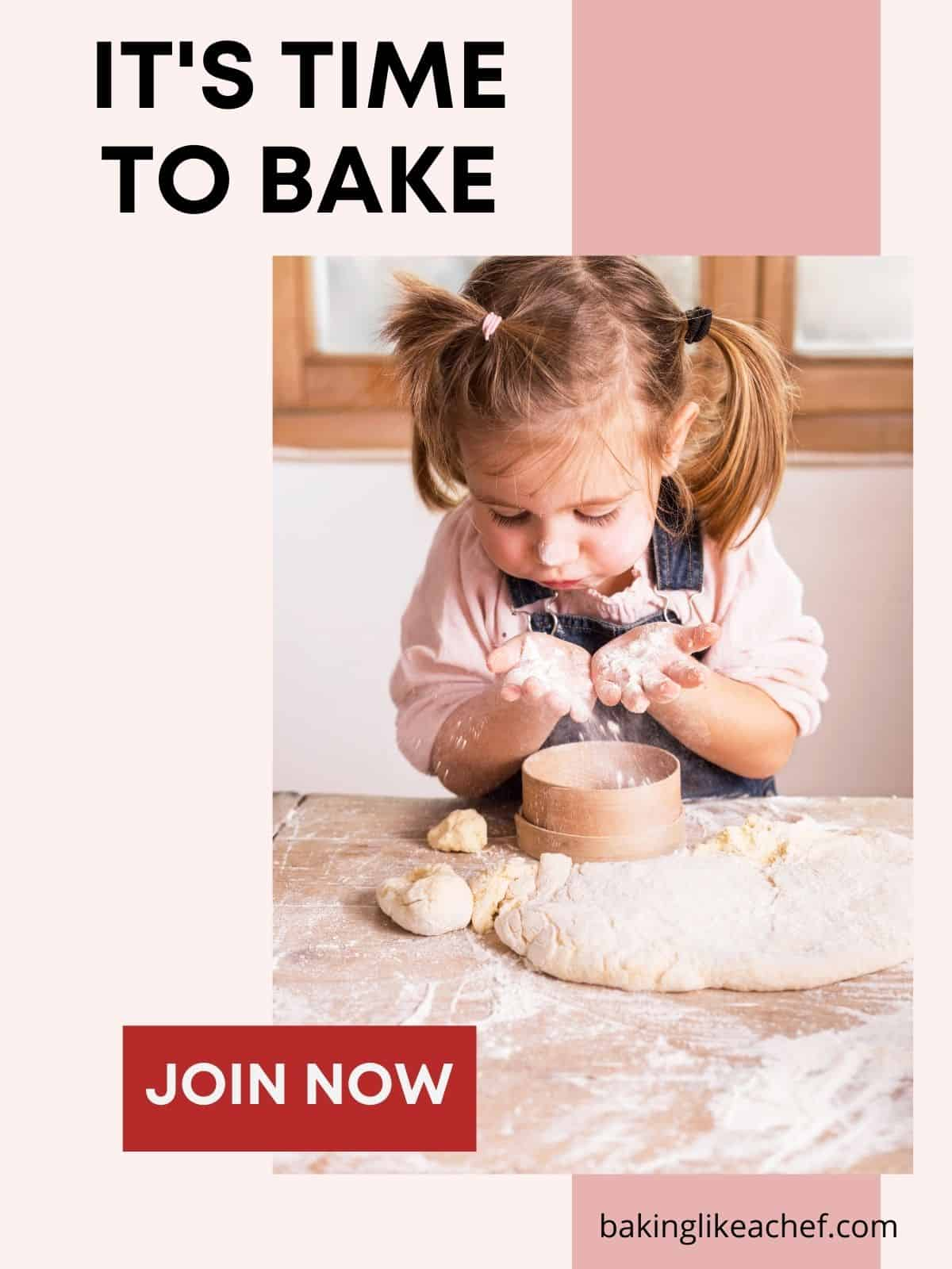 A girl dealing with the dough on a wooden board