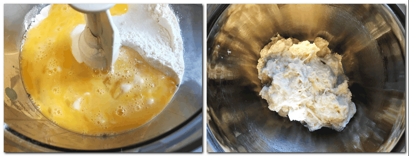 Photo 1: Dough ingredients in the bowl of the stand mixer Photo 2: Half-ready dough mixture in a bowl