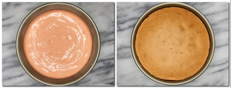 Photo 1: Batter in a cake pan Photo 2: baked biscuit in a pan