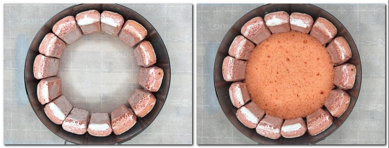 Photo 3: Mousse mold with pink biscuits Photo 4: Sponge in the bottom of the mold