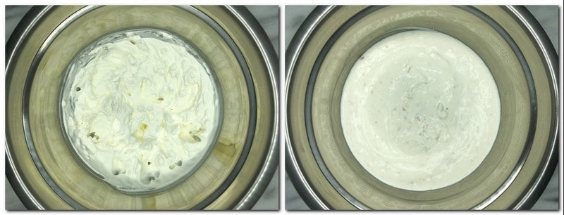 Photo 7: Whipped cream in a metal bowl Photo 8: Ready Bavarian cream in a bowl