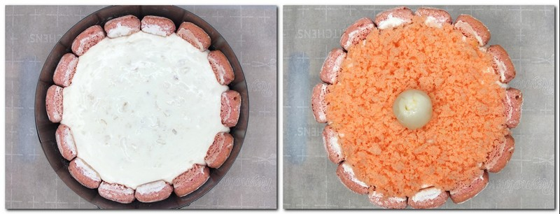 Photo 9: Bavarian cream into the mousse mold Photo 10: Cake topped with pink biscuit crumbs and a whole lychee