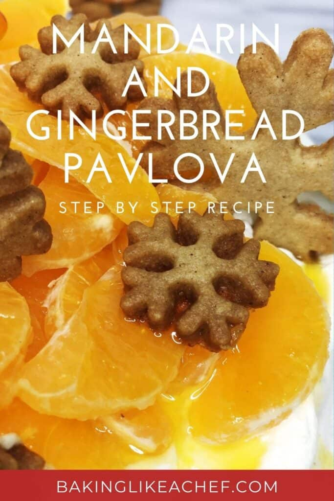 Gingerbread Pavlova cake decorated with mandarins, cookies, and caramel tree: Close up; Pin with text