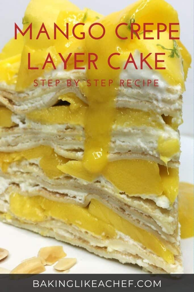 A cake slice topped with mango curls and puree on a white plate: Pin with text