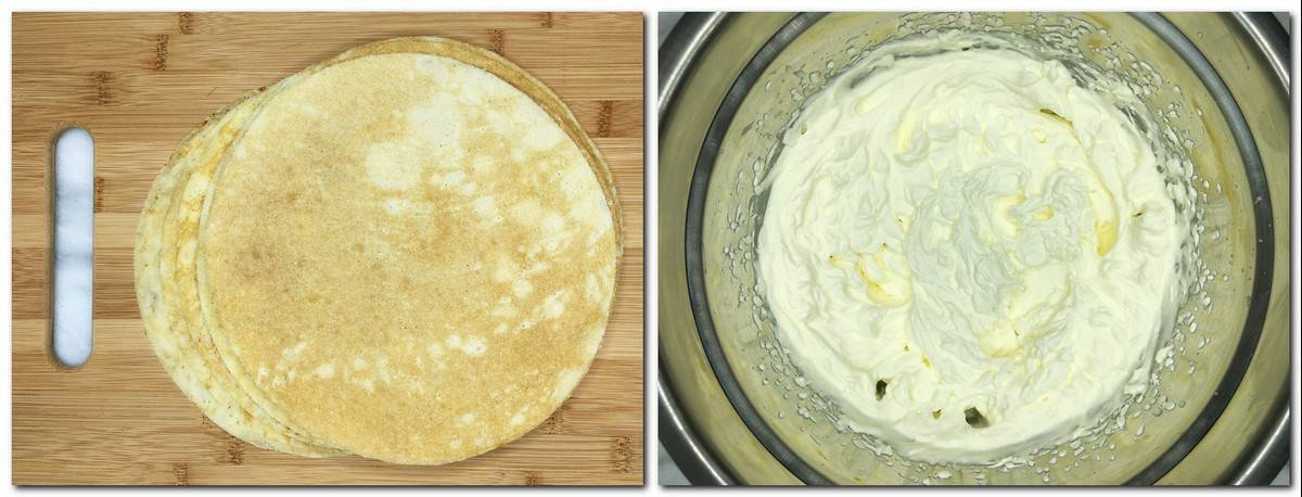 Photo 1: Cut crepes on a cutting board Photo 12: Whipped cream in a metal bowl