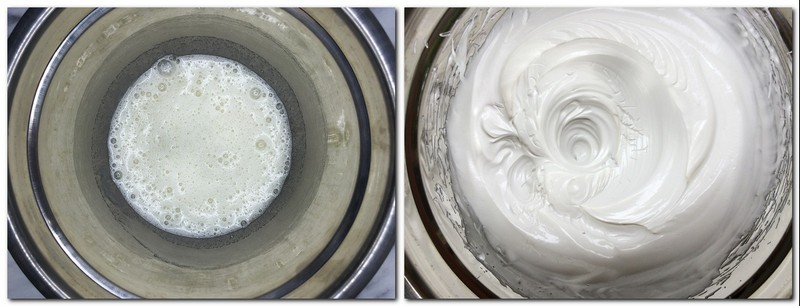Photo 1: Slightly beaten egg whites with sugar in a bowl Photo 2: Ready meringue in a bowl