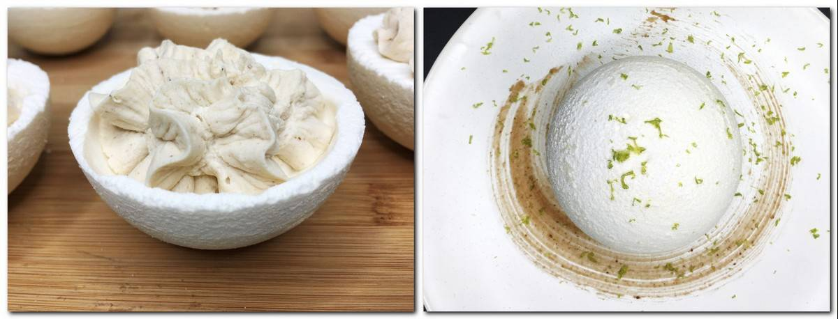 Photo 5: Baked hemispheres piped with cream Photo 6: Dessert served on a white plate