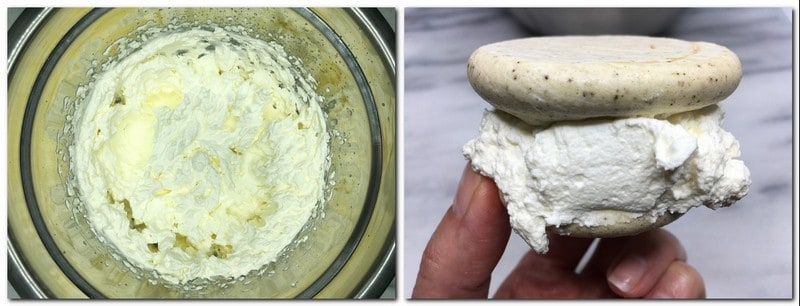 Photo 5: Ready Chantilly cream in a bowl Photo 6: Meringues sandwiched with the cream held in hand