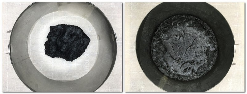 Photo 1: Ready cookie crust dough into a cake ring Photo 4: Pressed cookie crust at the bottom of the cake ring