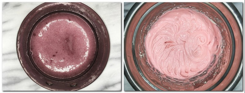 Photo 7: Raspberry puree/sugar/gelatin mixture in a saucepan Photo 8: Pink-colored cream cheese/ raspberry mixture in a bowl