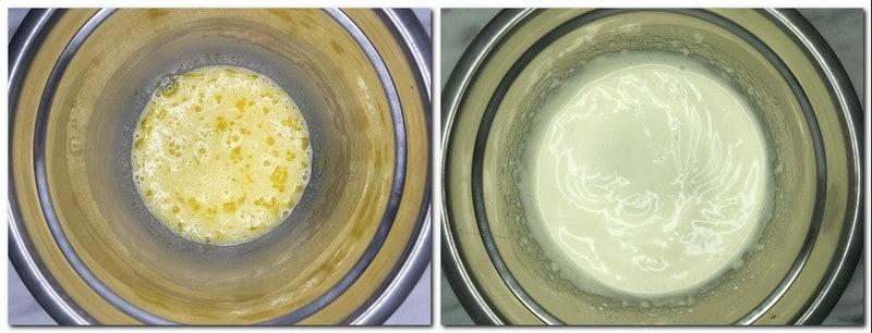 Photo 3: Eggs/sugar mixture in a metal bowl Photo 4: Whisked eggs/sugar mixture in a bowl