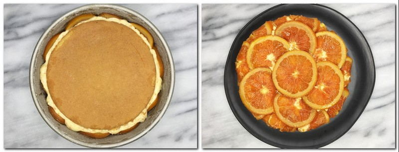 Photo 17: The second half of the biscuit on top of the cream in a cake pan Photo 18: Flipped orange cake on a black plate